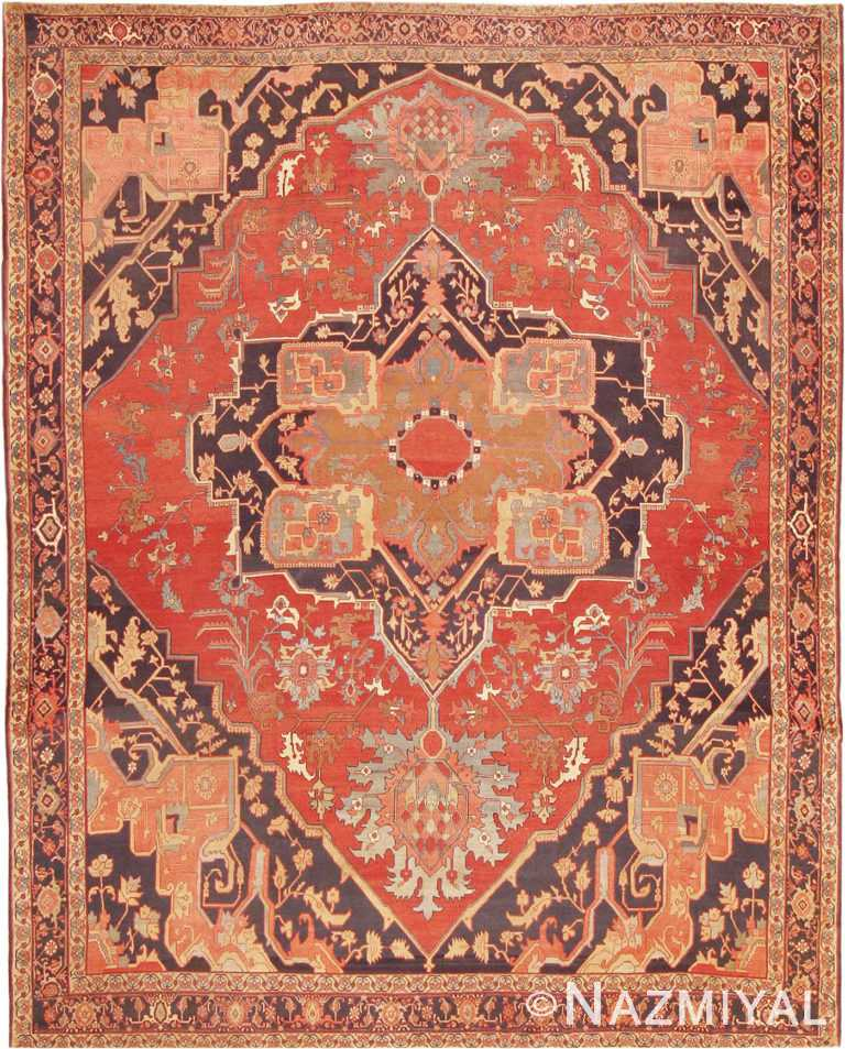 Fine Room Size Antique Persian Serapi Rug #2570 by Nazmiyal Antique Rugs