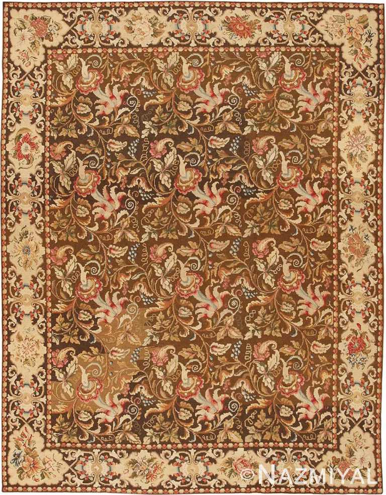 Floral Antique English Needlepoint Rug #3000 by Nazmiyal Antique Rugs