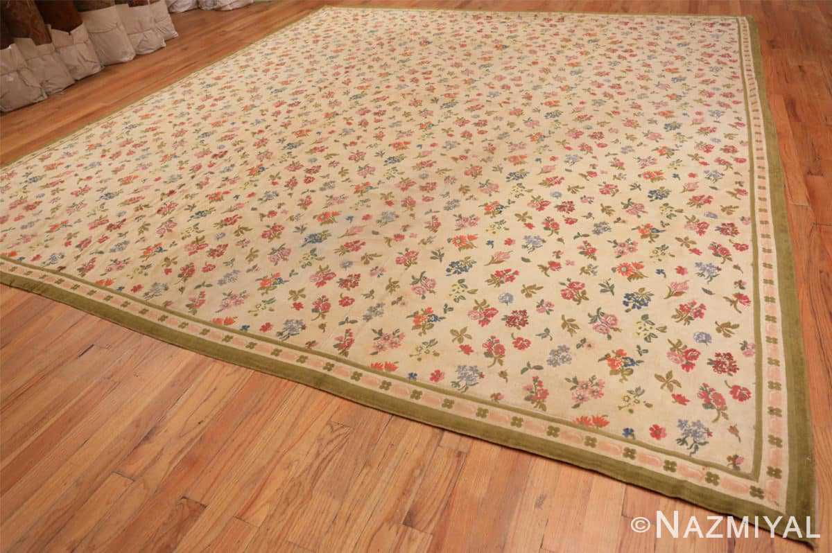 Full Antique French savonnerie design chenille rug 3422 by Nazmiyal