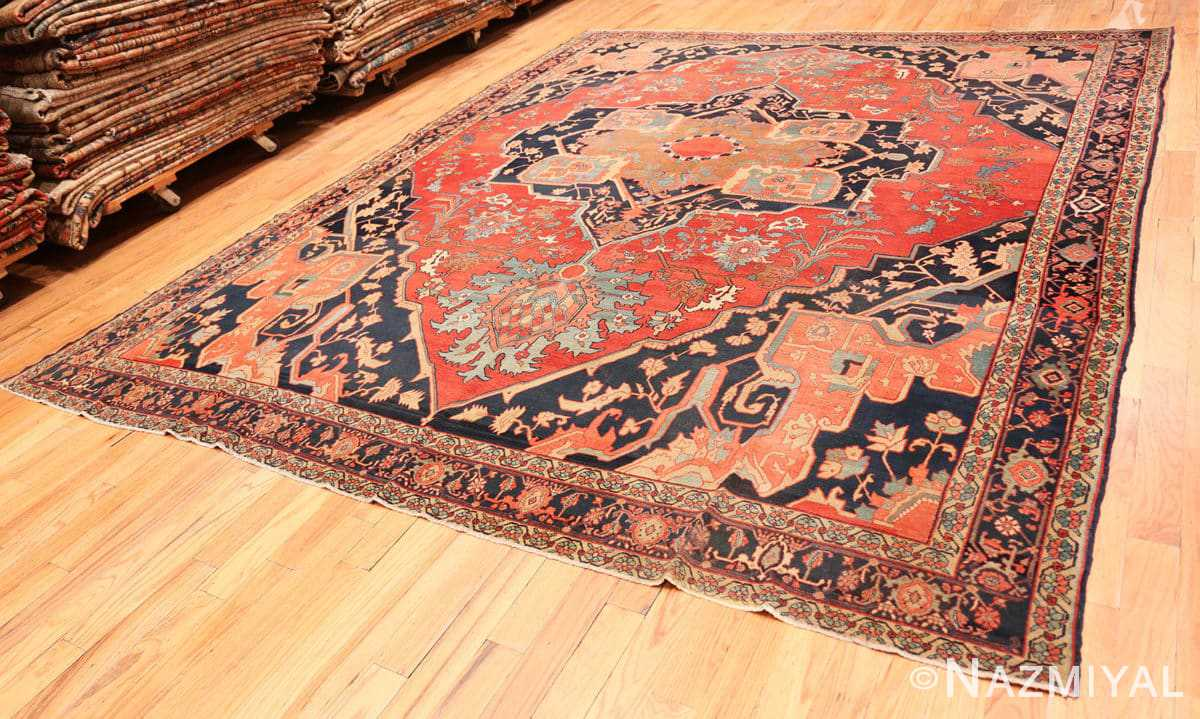 Full Fine room size Antique Persian Serapi rug 2570 by Nazmiyal