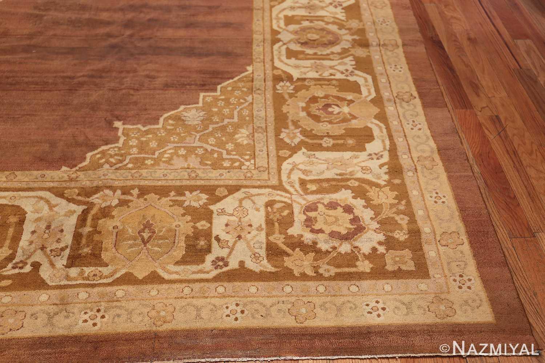 Large and Decorative Antique Indian Amritsar Rug 1950 Side Corner Nazmiyal
