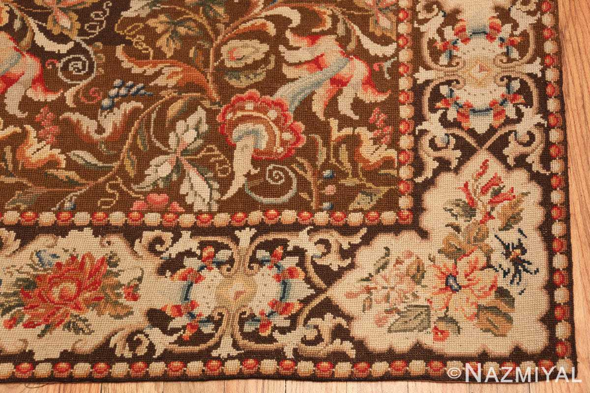 mesmerizing floral antique english needlepoint rug 3000 corner Nazmiyal