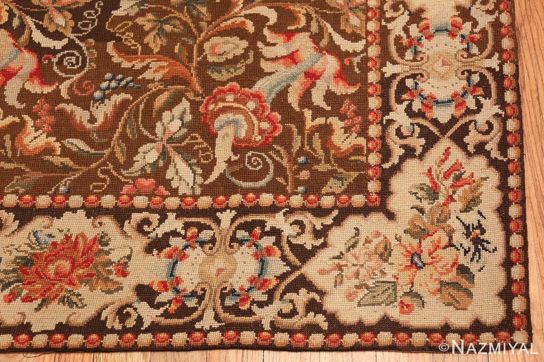 mesmerizing floral antique english needlepoint rug 3000 corner Nazmiyal