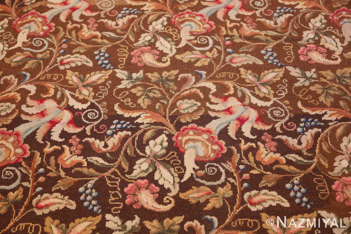 mesmerizing floral antique english needlepoint rug 3000 light Nazmiyal