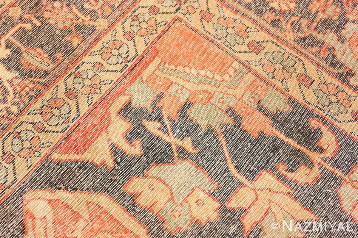 Weave detail Fine room size Antique Persian Serapi rug 2570 by Nazmiyal