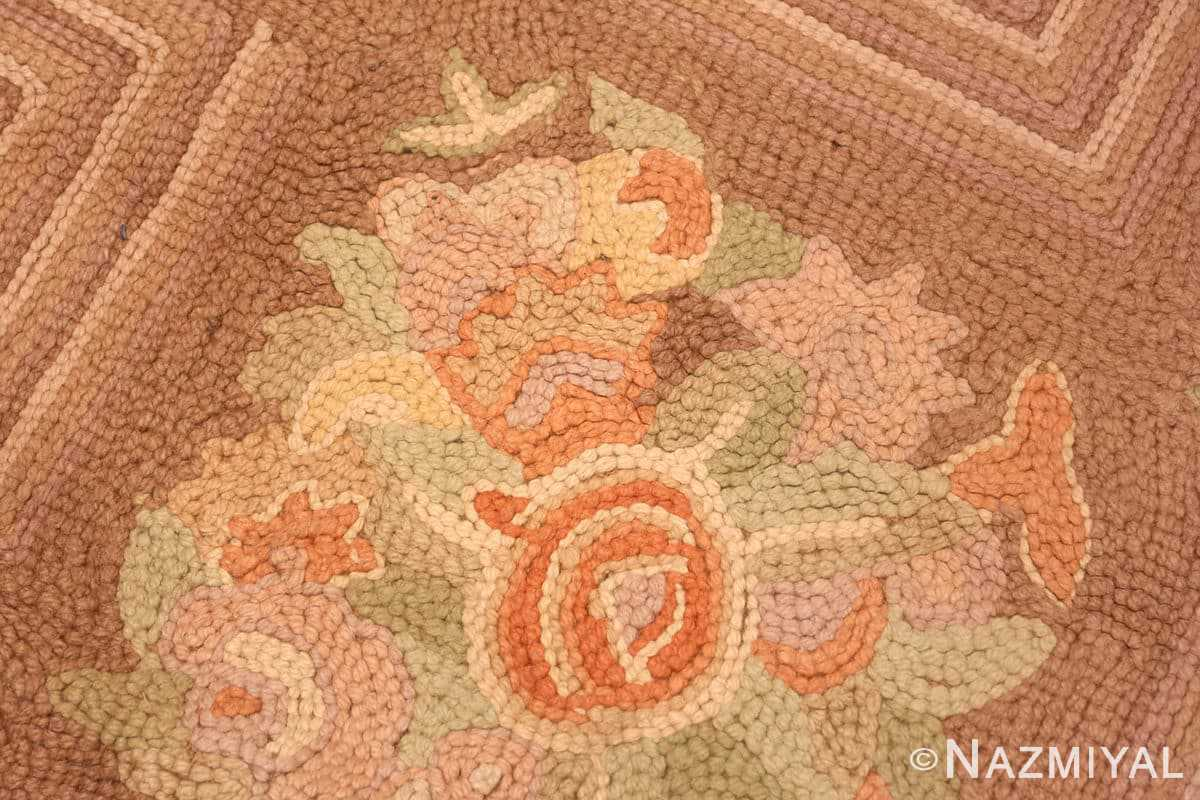 Weave detail floral pattern room size Antique American hooked rug 2142 by Nazmiyal