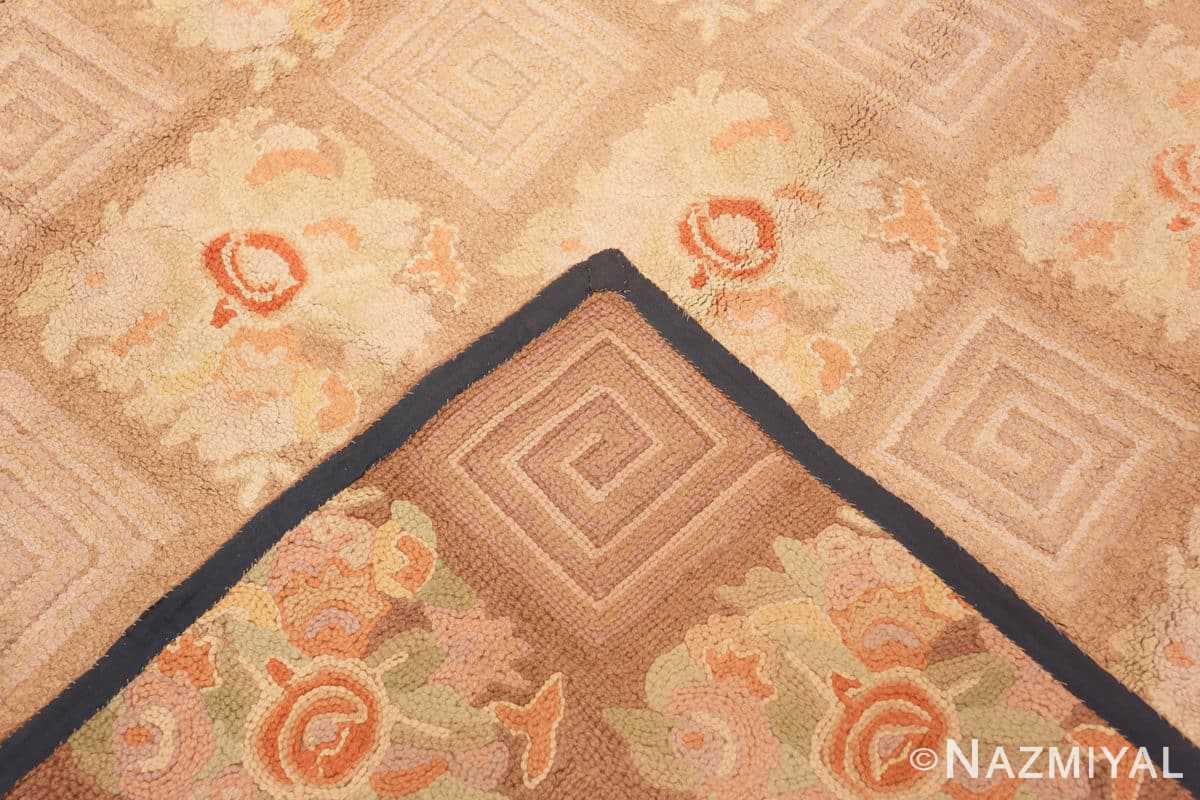 Weave floral pattern room size Antique American hooked rug 2142 by Nazmiyal