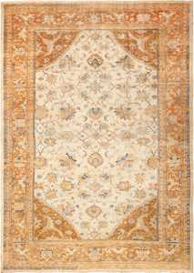 large antique ivory background persian sultanabad rug 3250 Nazmiyal