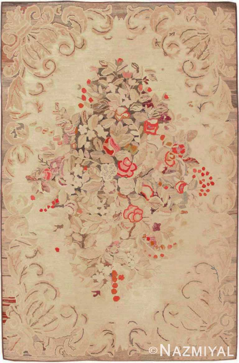 Floral Antique American Hooked Rug #1927 by Nazmiyal Antique Rugs