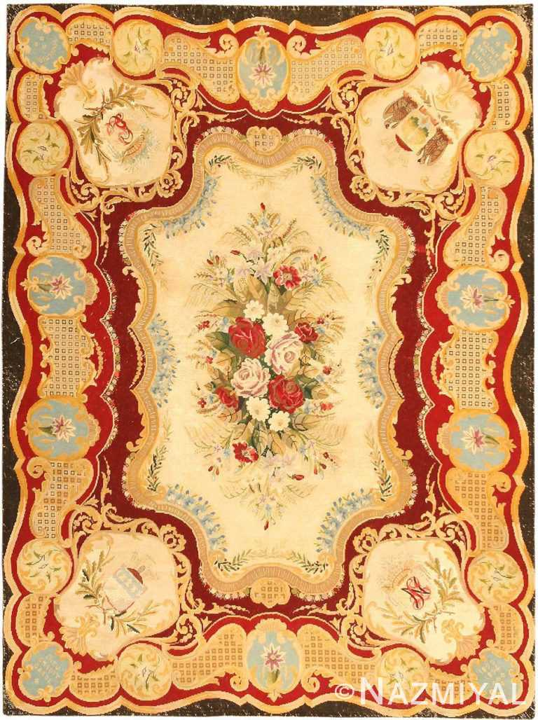 antique austro hungarian needlepoint rug 3417 Nazmiyal