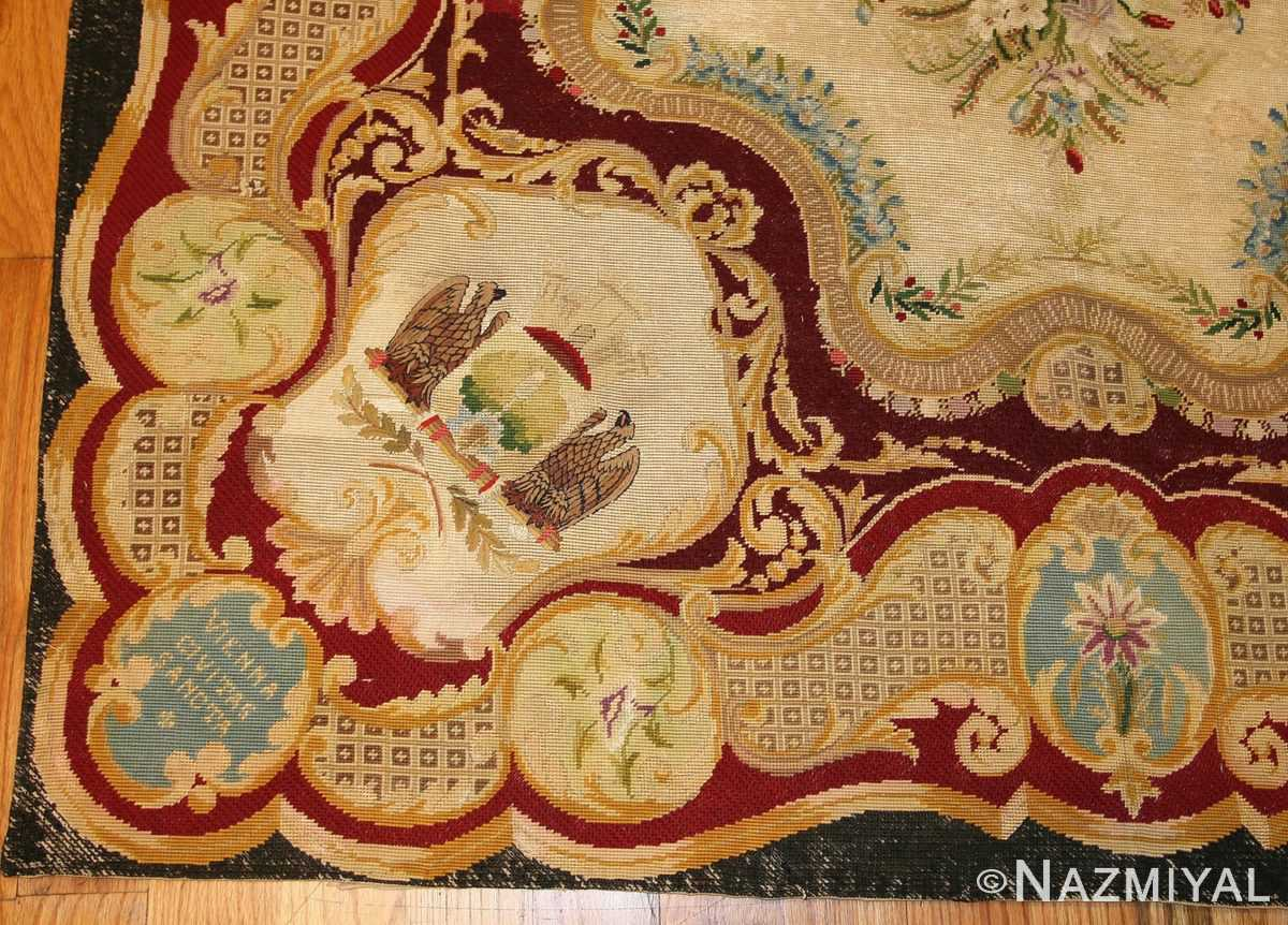 antique austro hungarian needlepoint rug 3417 border Nazmiyal