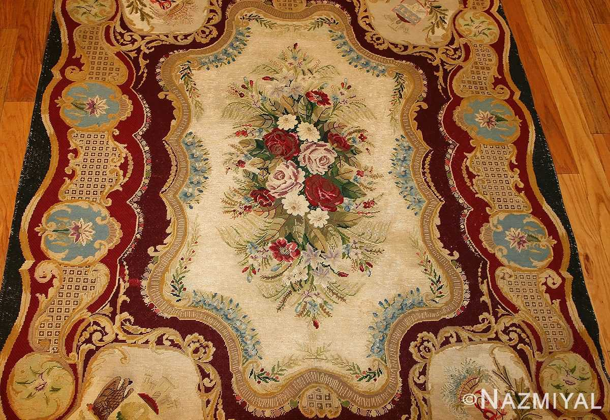 antique austro hungarian needlepoint rug 3417 medallion Nazmiyal