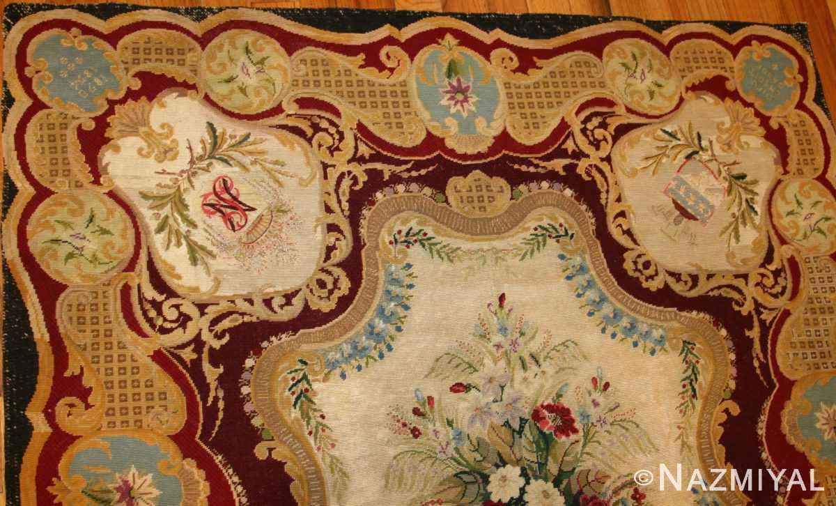 antique austro hungarian needlepoint rug 3417 top border Nazmiyal