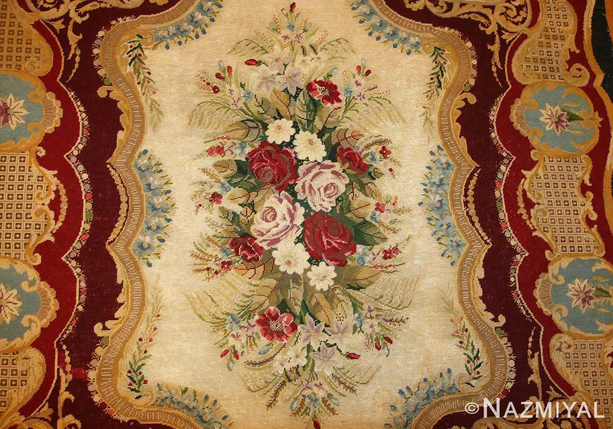 antique austro hungarian needlepoint rug 3417 top field Nazmiyal