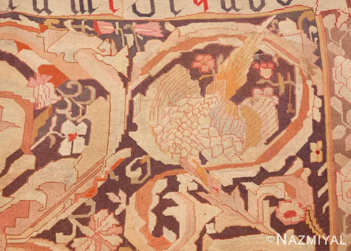 antique english needlepoint rug 1733 beak Nazmiyal