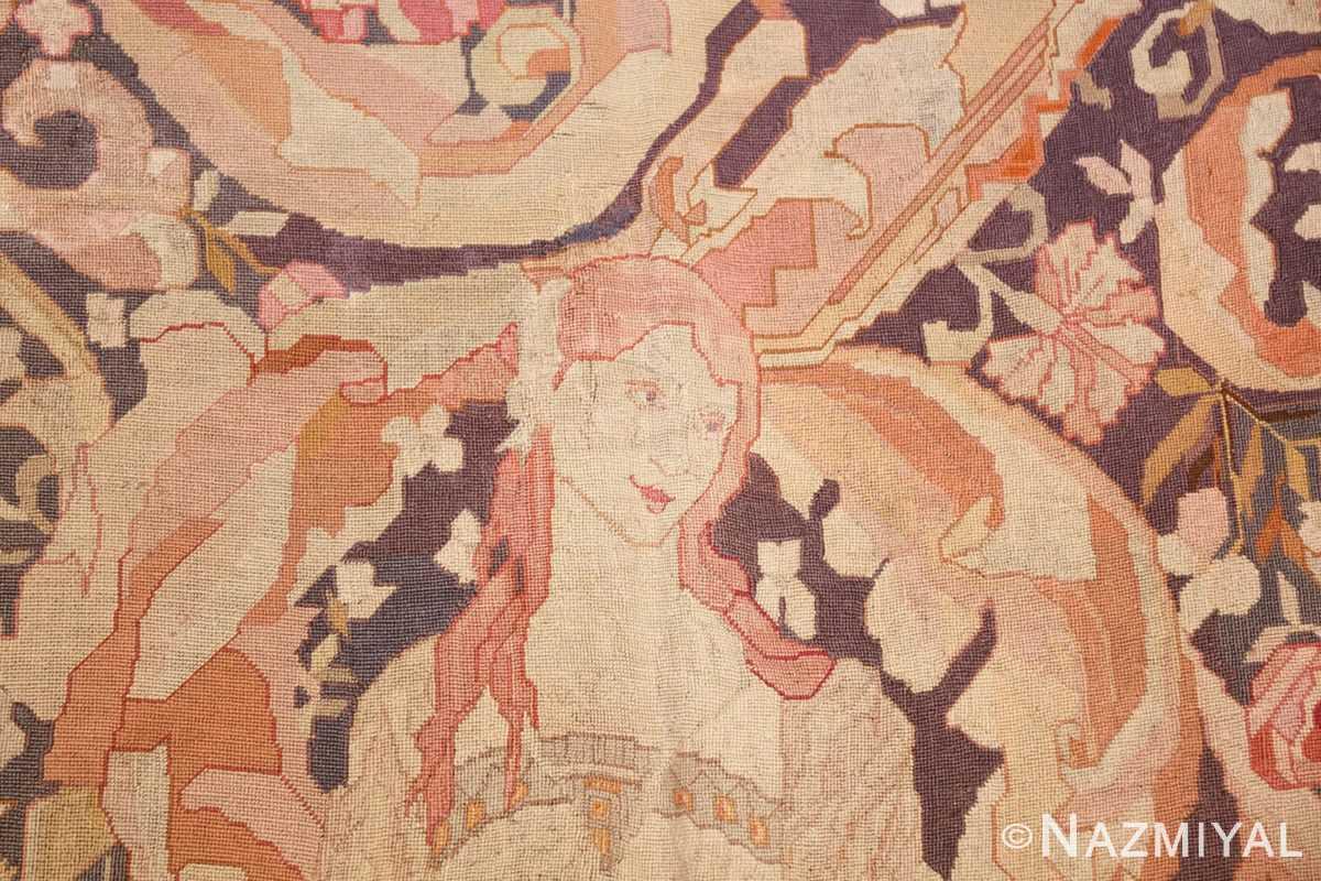 antique english needlepoint rug 1733 head Nazmiyal