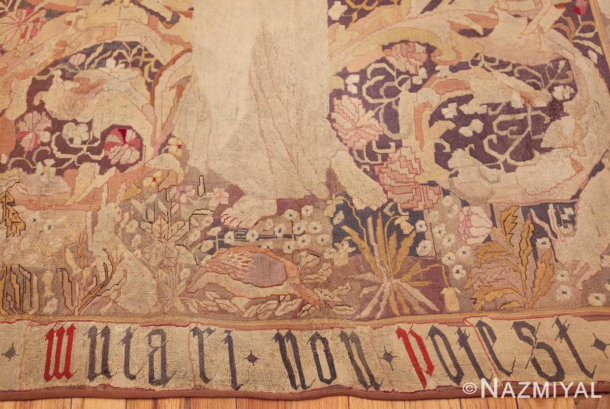 antique english needlepoint rug 1733 lines Nazmiyal