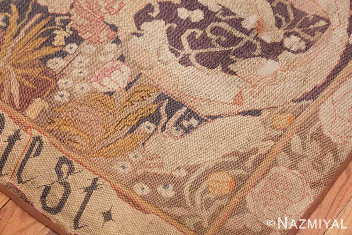 antique english needlepoint rug 1733 rabbit Nazmiyal