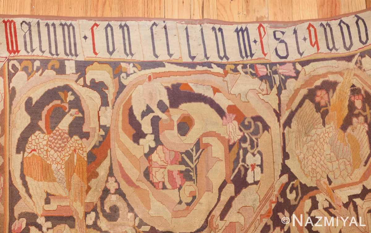 antique english needlepoint rug 1733 signature Nazmiyal