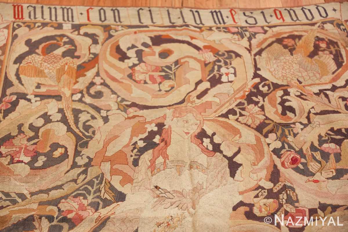 antique english needlepoint rug 1733 top Namiyal