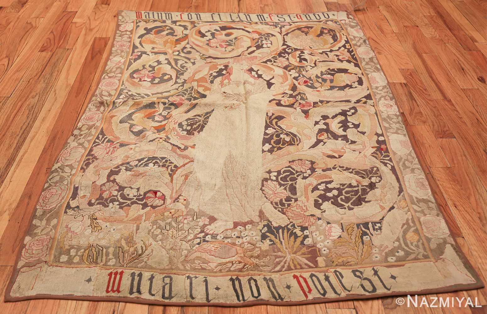 antique english needlepoint rug 1733 whole Nazmiyal