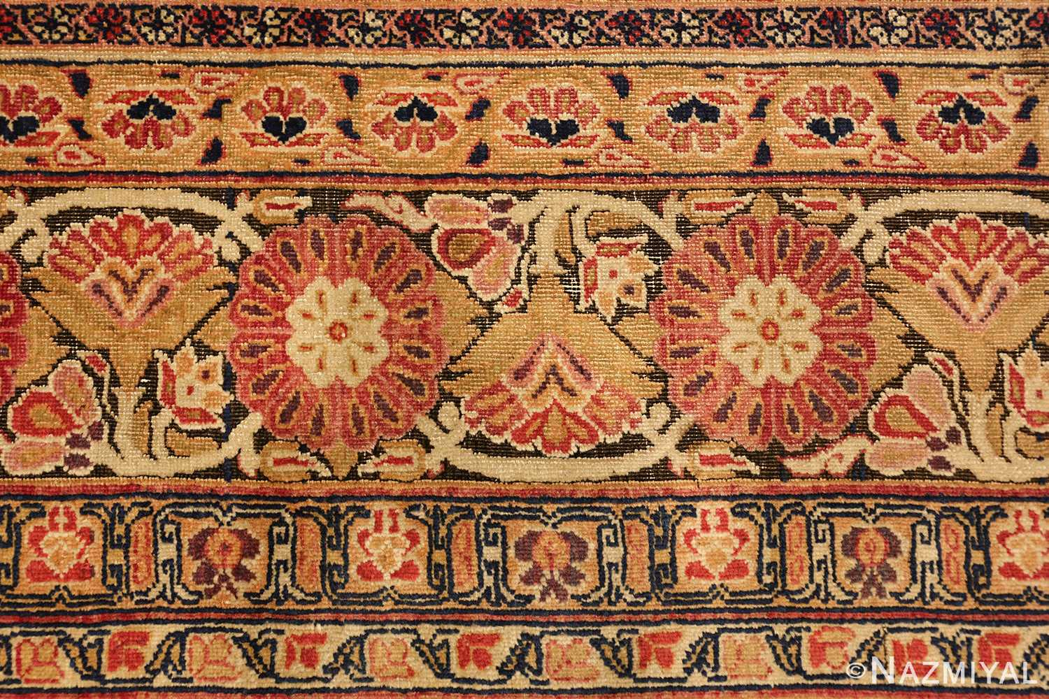 antique kerman persian rug 1195 closeup Nazmiyal