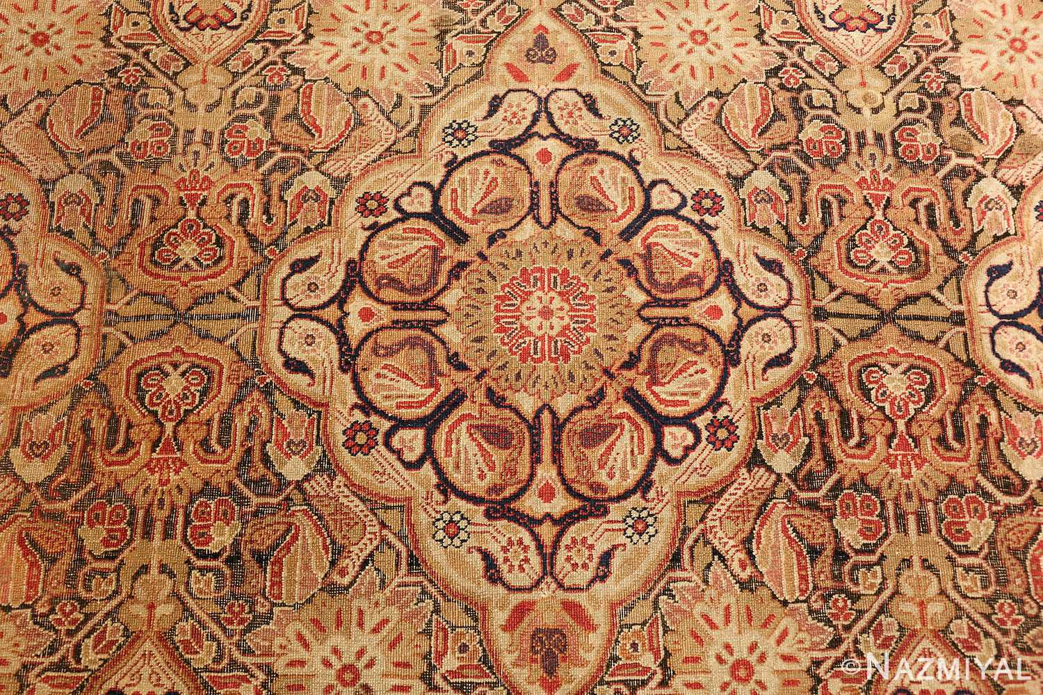 antique kerman persian rug 1195 flower Nazmiyal