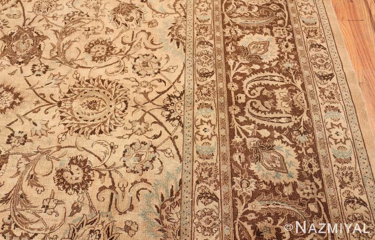 Antique Oversized Ivory and brown Persian Khorassan Rug 41975 Border Design Nazmiyal