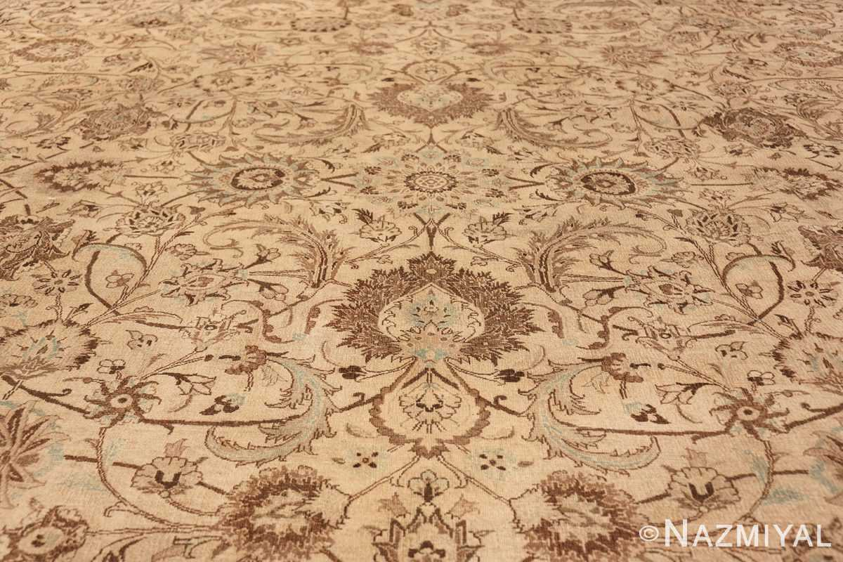 Antique Oversized Ivory and brown Persian Khorassan Rug 41975 Central Medallion Nazmiyal