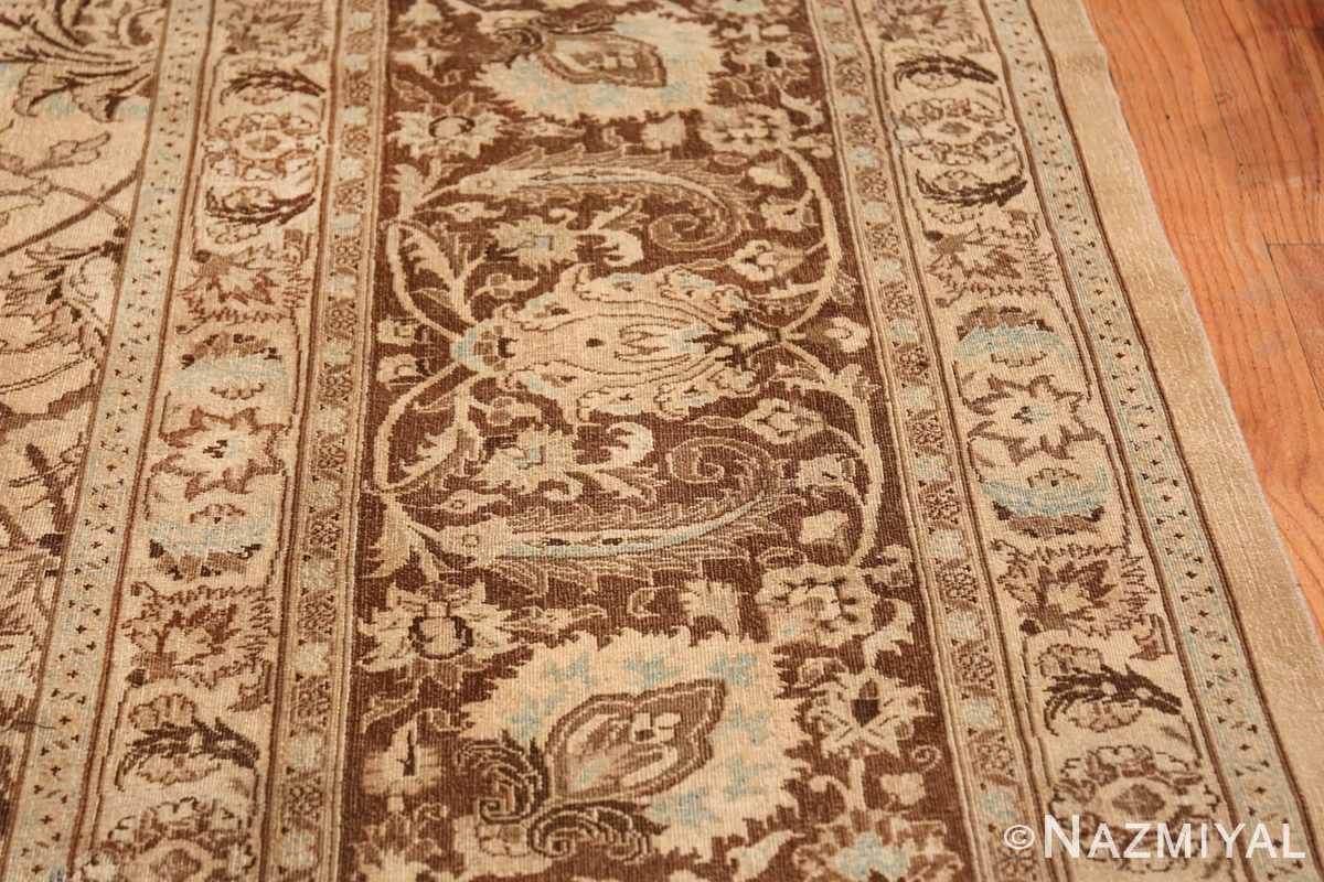 Antique Oversized Ivory and brown Persian Khorassan Rug 41975 Closeup Nazmiyal