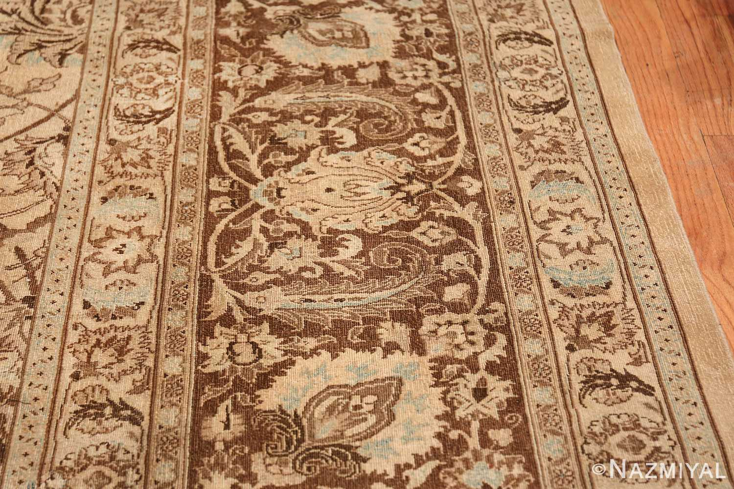 Antique Oversized Ivory and brown Persian Khorassan Rug 41975 Closeup Nazmiyal