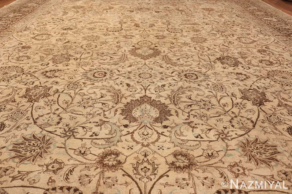 Antique Oversized Ivory and brown Persian Khorassan Rug 41975 Field Wide Shot Nazmiyal