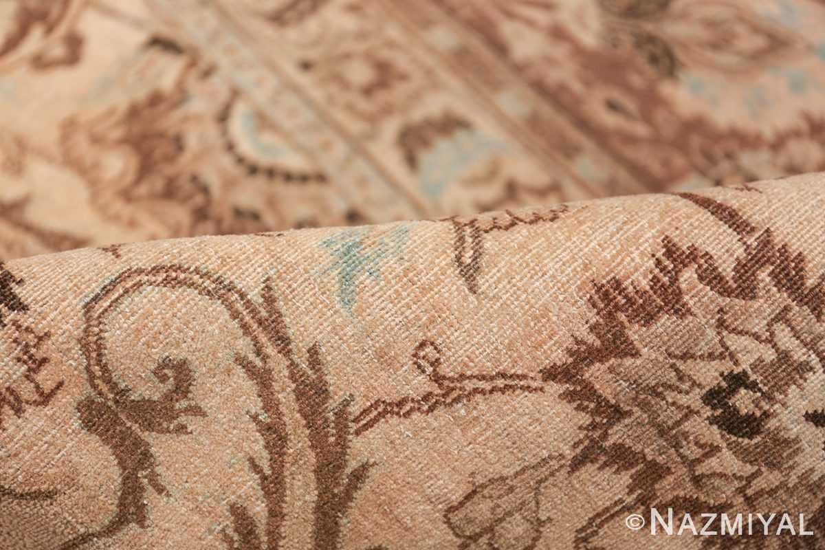 Antique Oversized Ivory and brown Persian Khorassan Rug 41975 Floral Pile Nazmiyal