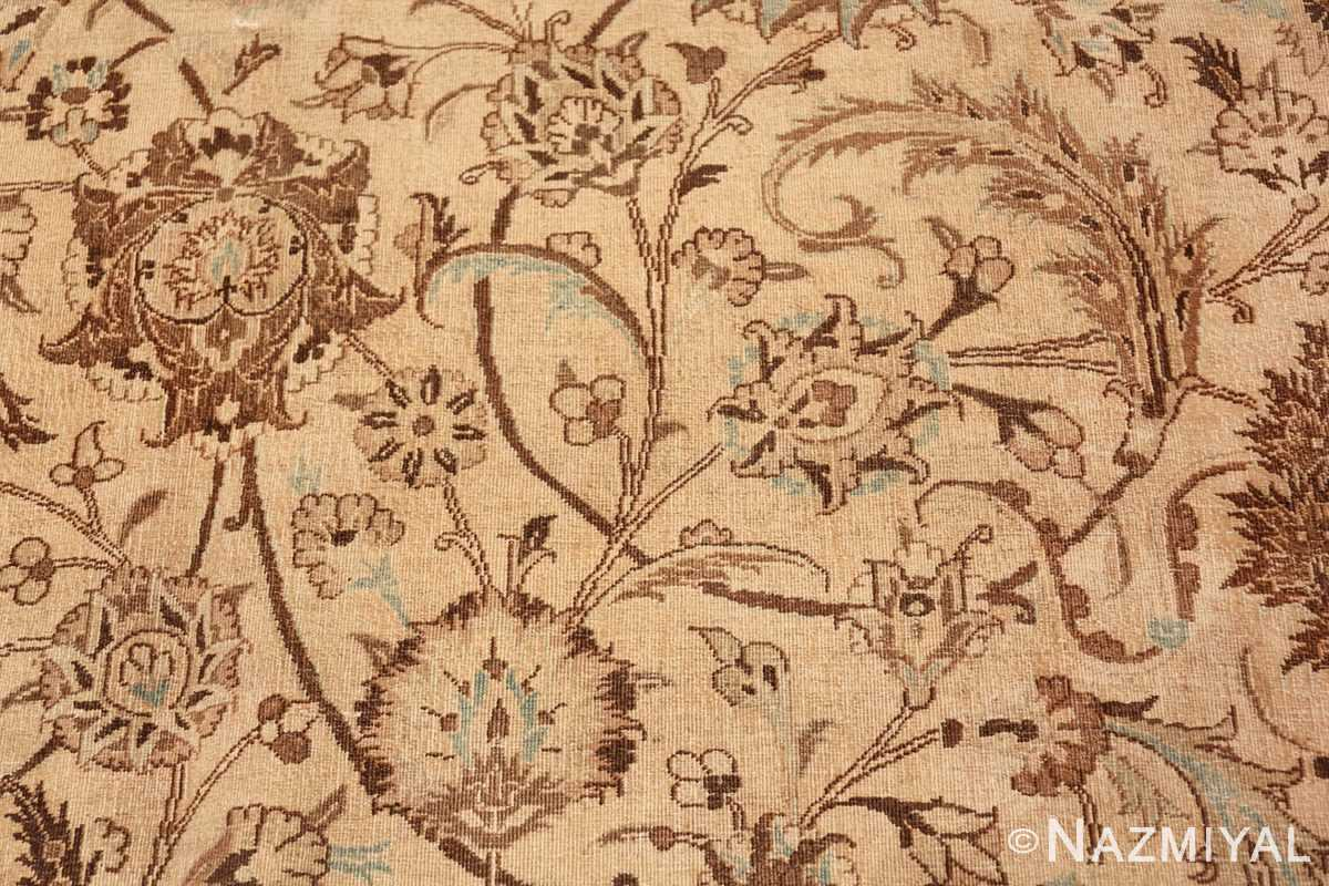 Antique Oversized Ivory and brown Persian Khorassan Rug 41975 Floral Scrolls Nazmiyal