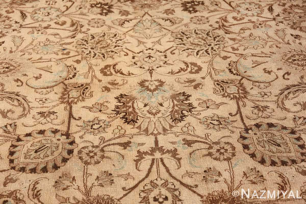 Antique Oversized Ivory and brown Persian Khorassan Rug 41975 Light Side Pattern Nazmiyal