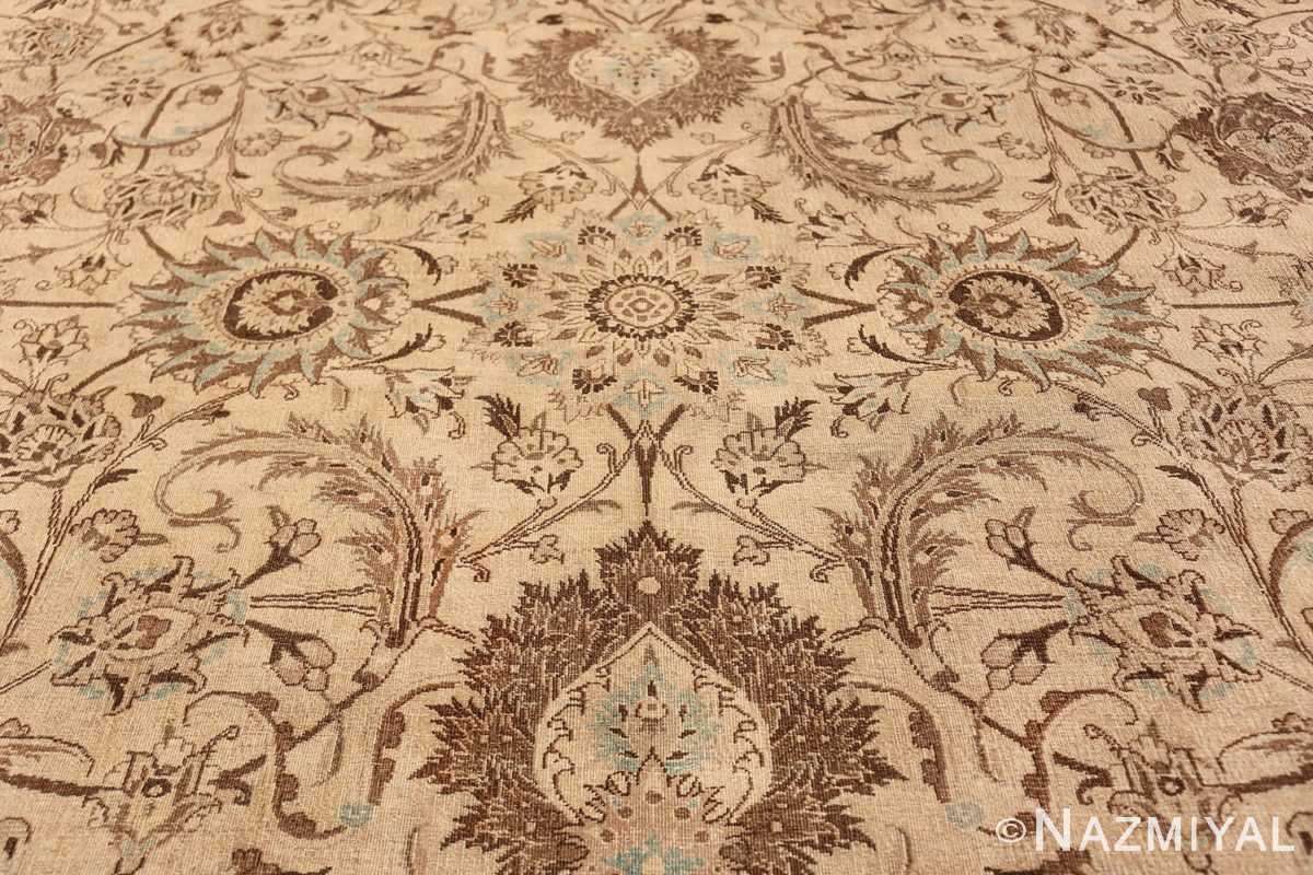 Antique Oversized Ivory and brown Persian Khorassan Rug 41975 Pattern Scrolls Nazmiyal
