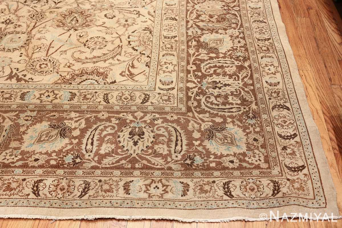 Antique Oversized Ivory and brown Persian Khorassan Rug 41975 Side Corner Nazmiyal