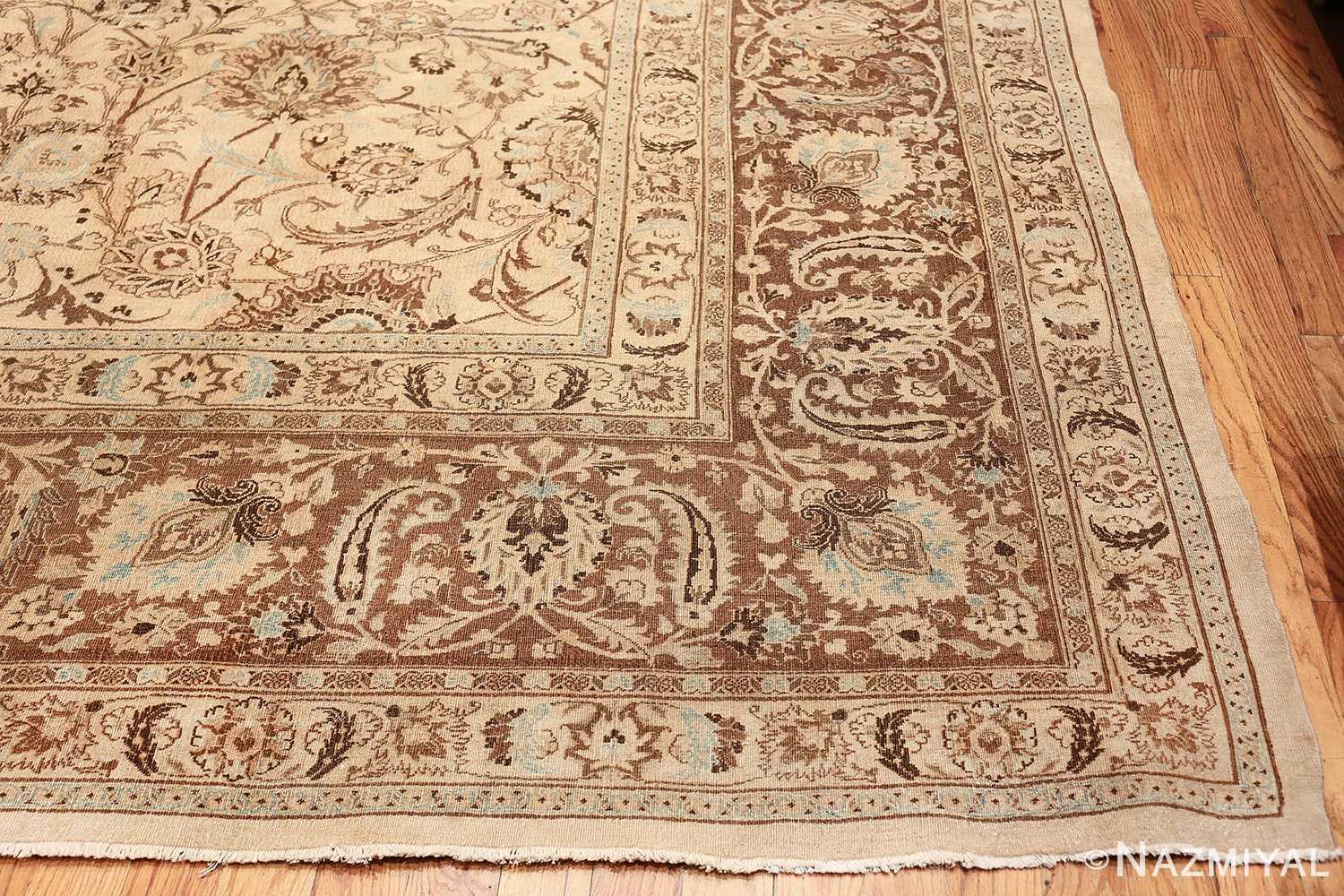 Antique Oversized Ivory and brown Persian Khorassan Rug 41975 Side Corner Nazmiyal