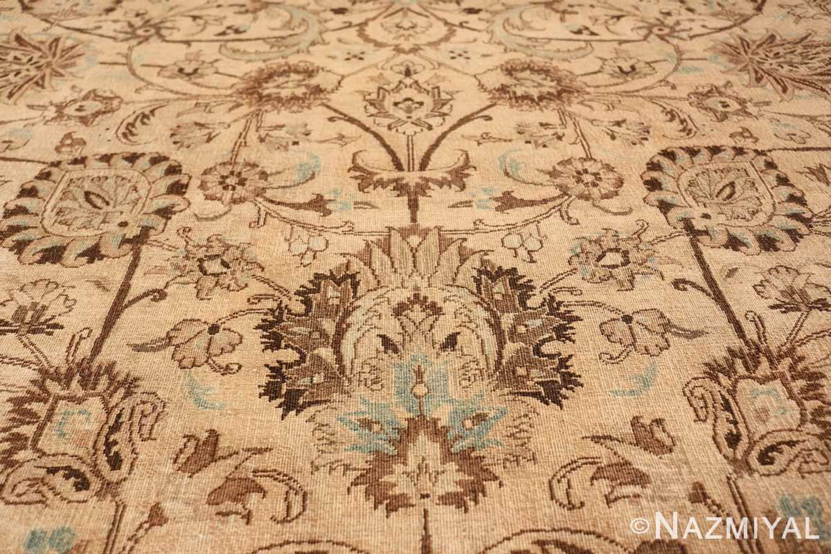 Antique Oversized Ivory and brown Persian Khorassan Rug 41975 Three Long Branches Nazmiyal