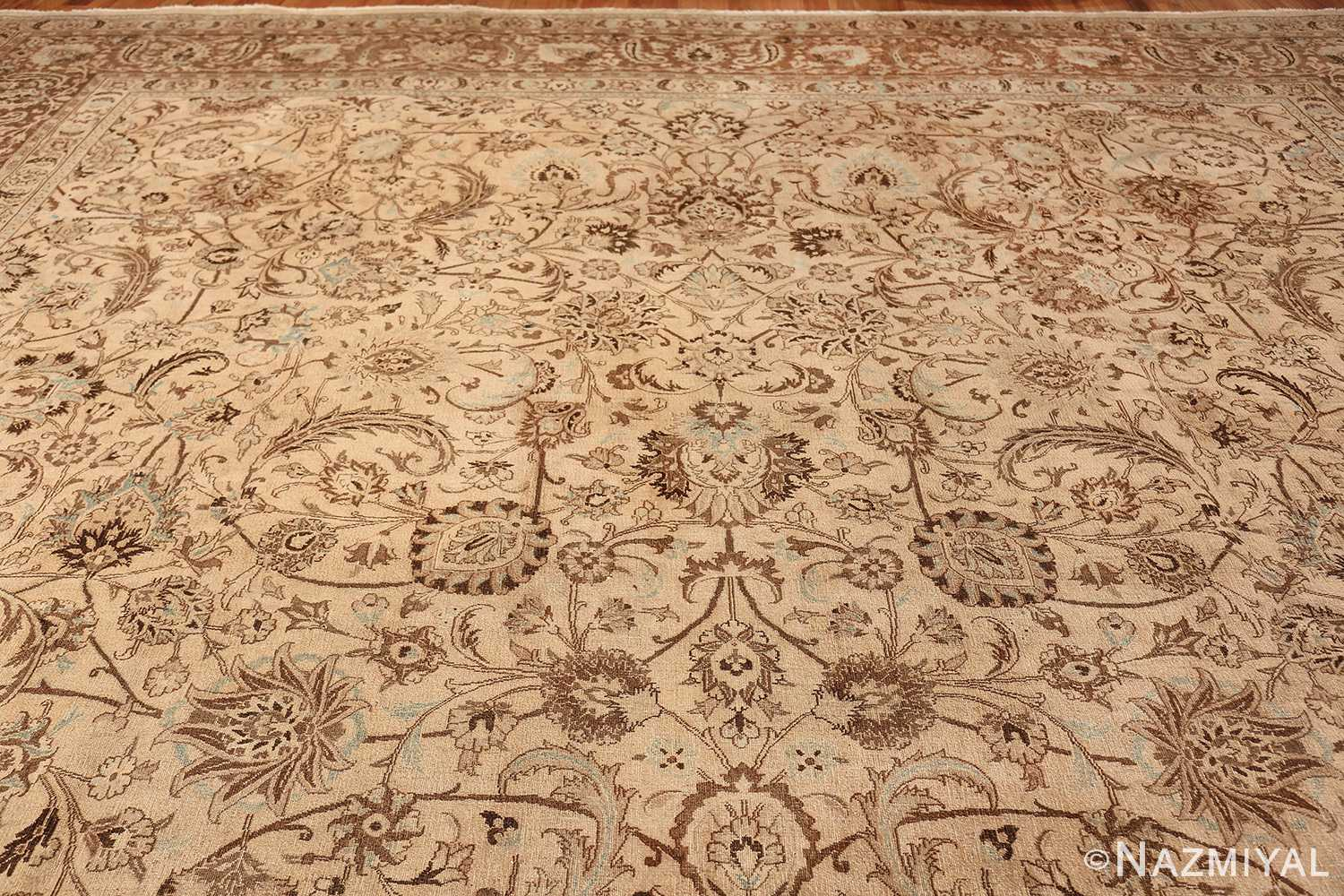Antique Oversized Ivory and brown Persian Khorassan Rug 41975 Top Design Nazmiyal
