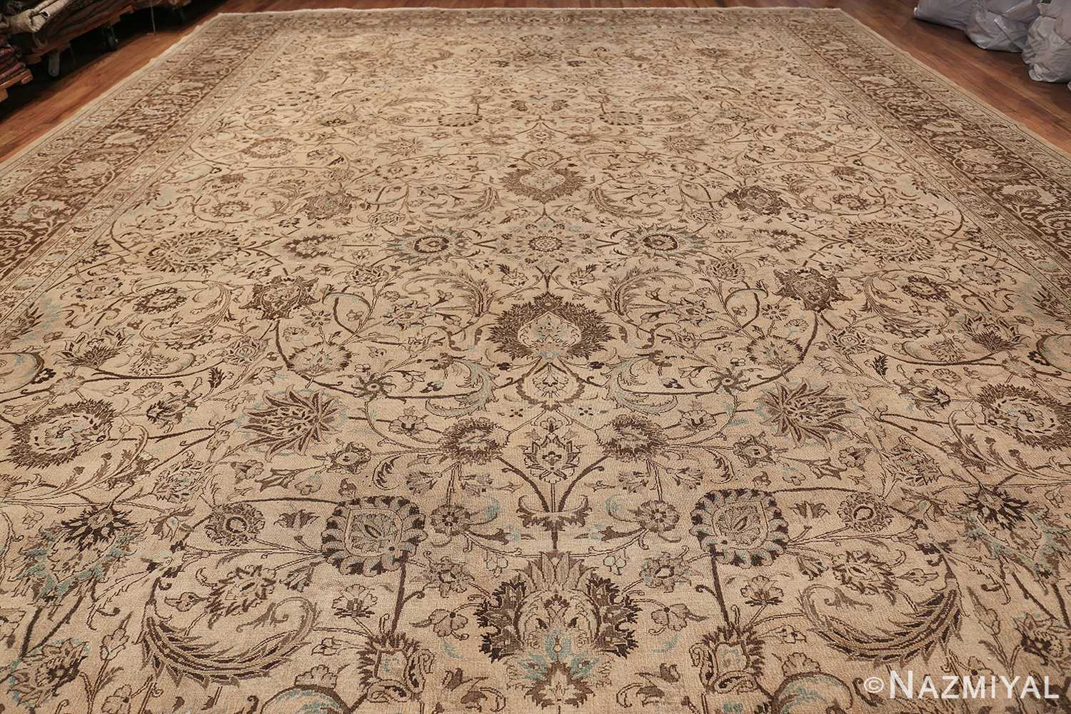Antique Oversized Ivory and brown Persian Khorassan Rug 41975 Whole Design Nazmiyal