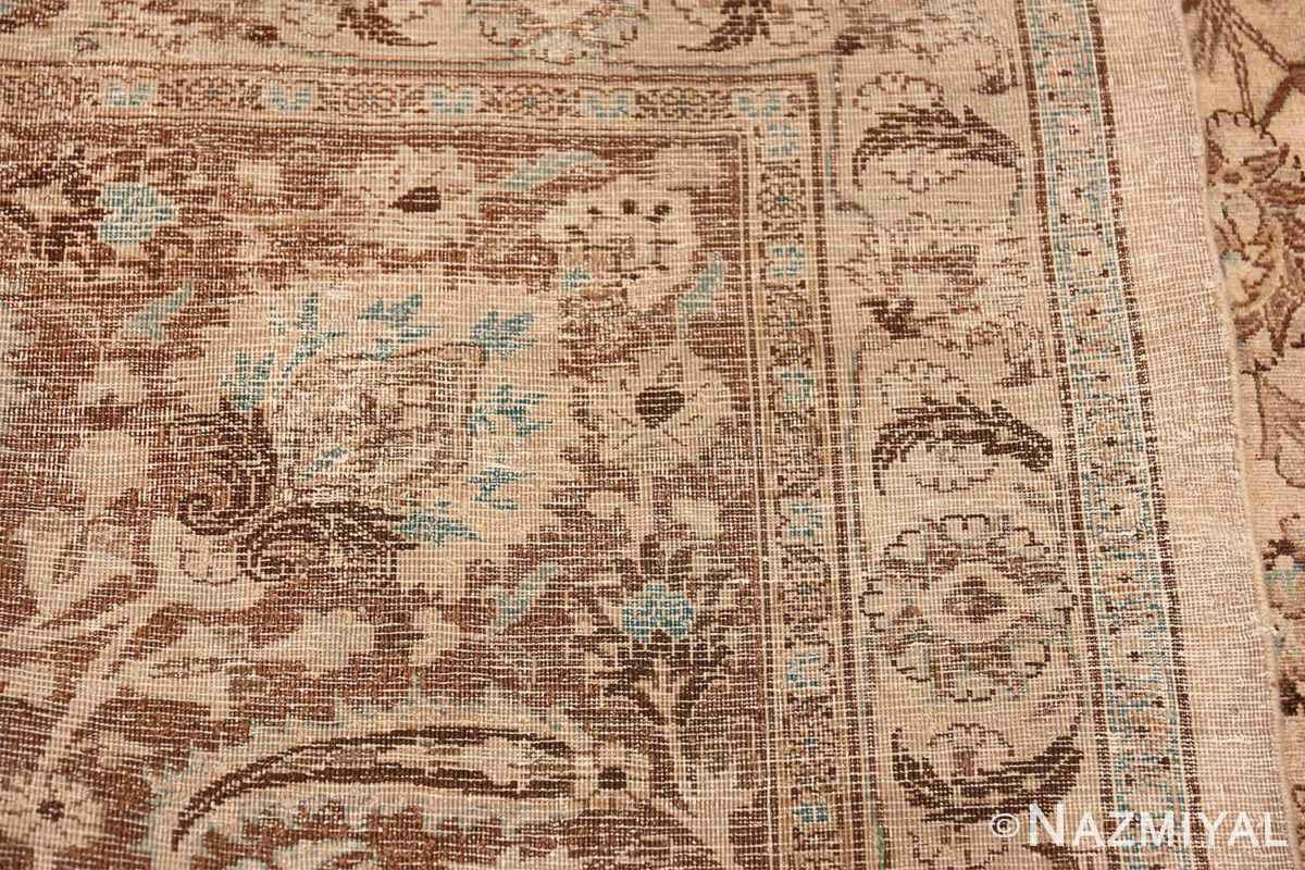 Antique Oversized Ivory and brown Persian Khorassan Rug 41975 Woven Knots Nazmiyal