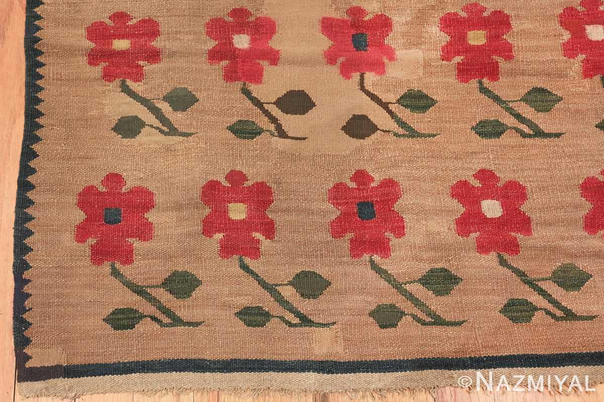 antique romanian flat woven bessarabian kilim rug 3123 corner Nazmiyal