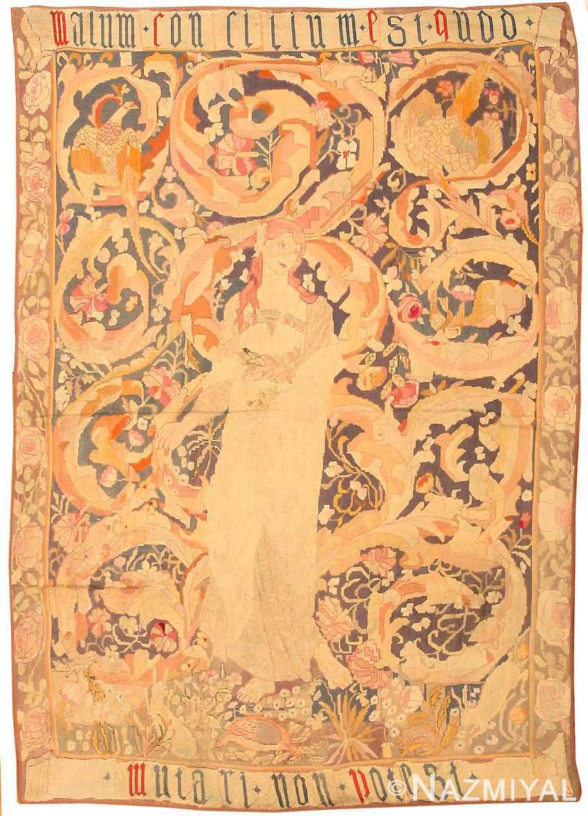 antique english needlepoint rug 1733 Nazmiyal
