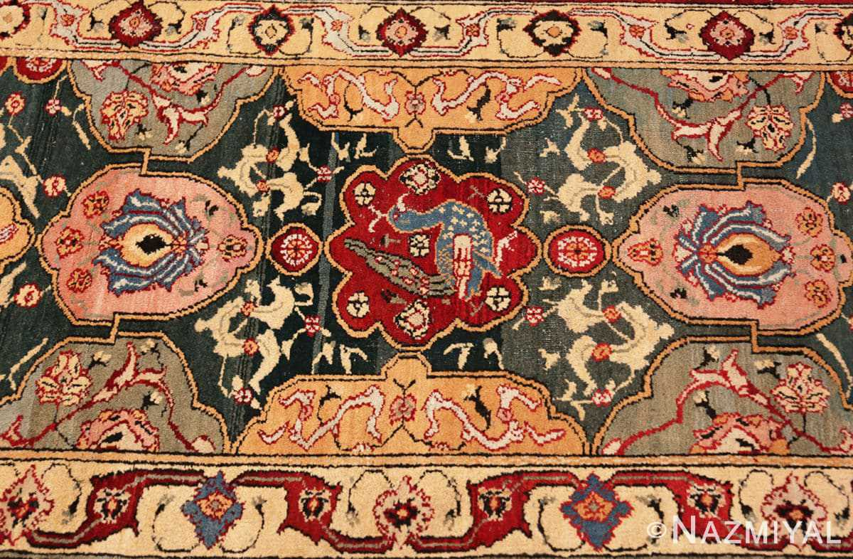Border detail Antique Indian Agra rug 41269 by Nazmiyal