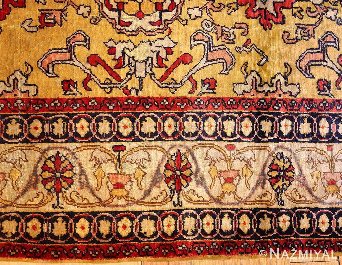 fine gold background antique silk turkish rug 1963 border Nazmiyal