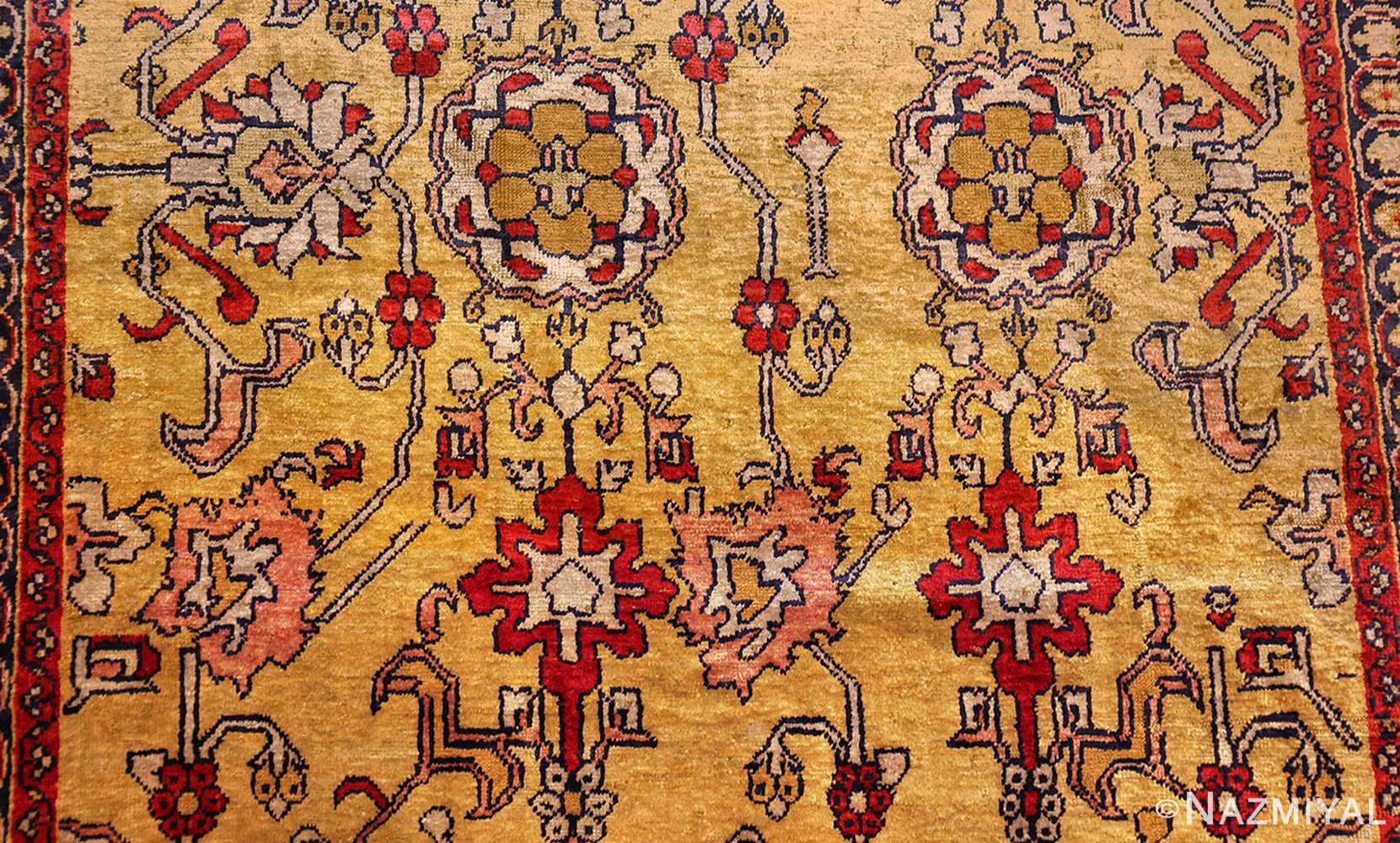 fine gold background antique silk turkish rug 1963 field Nazmiyal