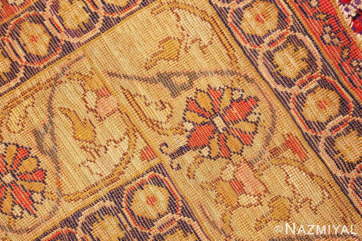 fine gold background antique silk turkish rug 1963 weave Nazmiyal