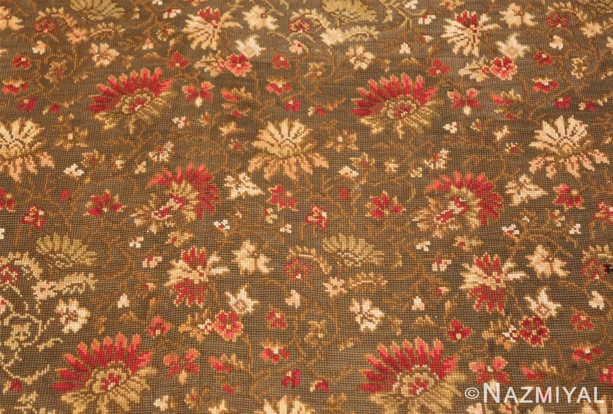 green background antique ukrainian rug 3404 flowers Nazmiyal