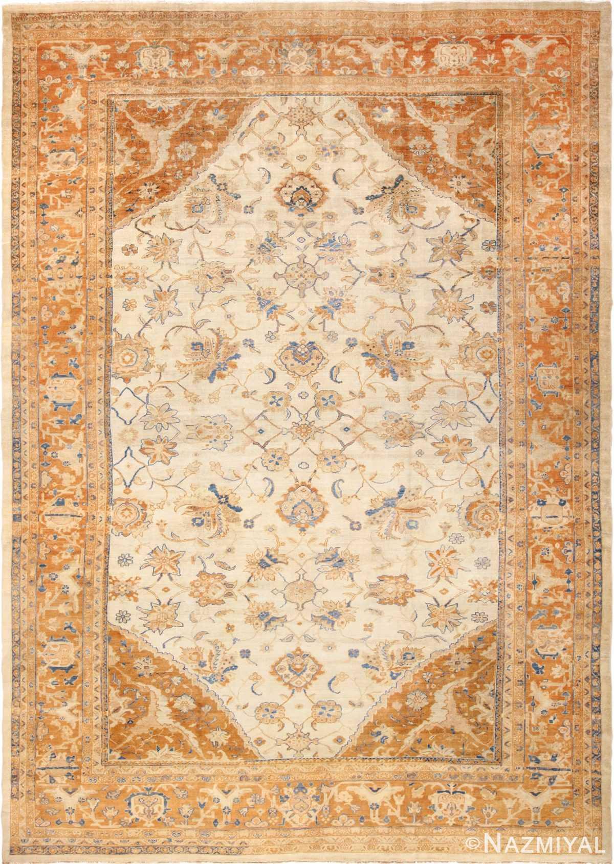 large antique ivory background persian sultanabad rug 3250 Nazmiyal